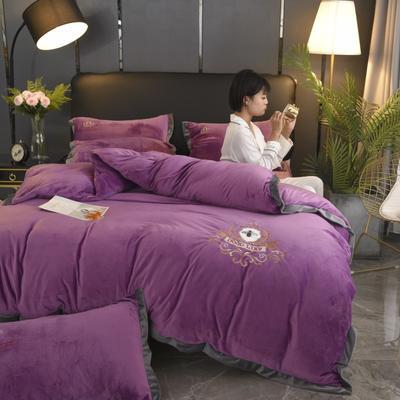 2019新款-水晶绒四件套小蜜蜂 床单款1.8m(6英尺)床 优雅紫