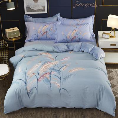 2019新款-棉加水晶绒四件套 床单款1.8m(6英尺)床 风吹麦浪绿