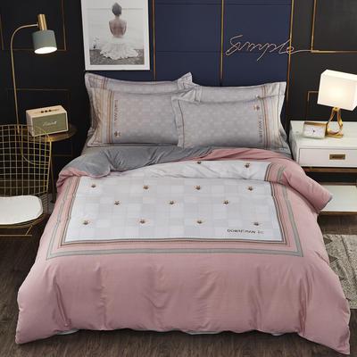 2019新款-棉加水晶绒四件套 床单款1.8m(6英尺)床 蜂之恋-粉