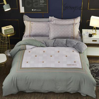 2019新款-棉加水晶绒四件套 床单款1.8m(6英尺)床 蜂之恋-绿