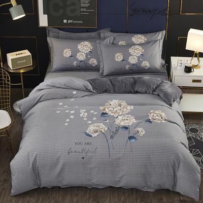 2019新款-棉加水晶绒四件套 床单款1.8m(6英尺)床 花满枝头-灰