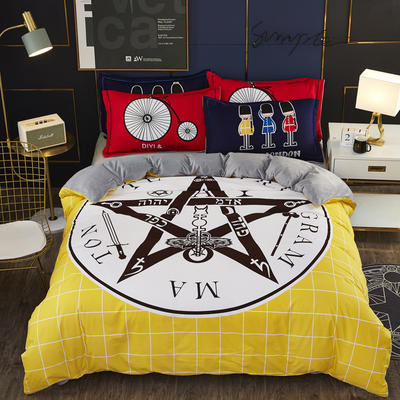 2019新款-棉加水晶绒四件套 床单款1.8m(6英尺)床 金色年华