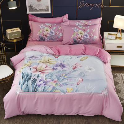 2019新款-棉加水晶绒四件套 床单款1.8m(6英尺)床 精幽-粉