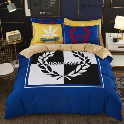 2019新款-棉加水晶绒四件套 床单款1.8m(6英尺)床 蓝色风情