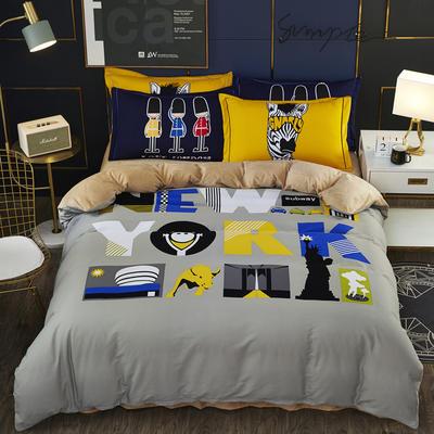 2019新款-棉加水晶绒四件套 床单款1.5m(5英尺)床 纽约夜未眠