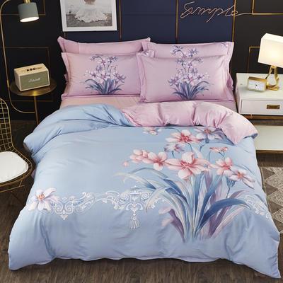 2019新款-棉加水晶绒四件套 床单款1.8m(6英尺)床 盼雅-兰