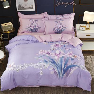 2019新款-棉加水晶绒四件套 床单款1.8m(6英尺)床 盼雅-紫