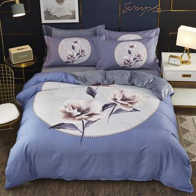 2019新款-棉加水晶绒四件套 床单款1.5m(5英尺)床 秋月