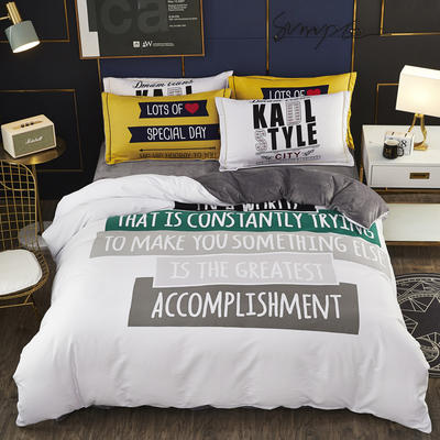 2019新款-棉加水晶绒四件套 床单款1.8m(6英尺)床 时光