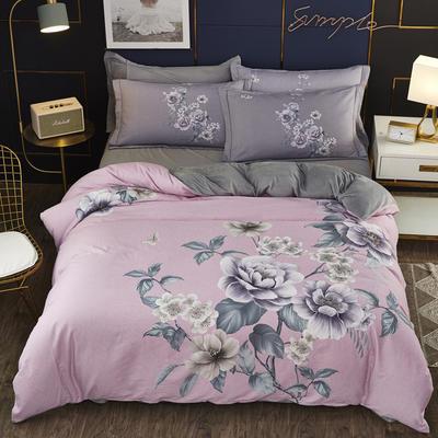 2019新款-棉加水晶绒四件套 床单款1.8m(6英尺)床 雅漾-粉