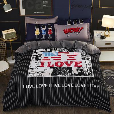 2019新款-棉加水晶绒四件套 床单款1.8m(6英尺)床 英伦