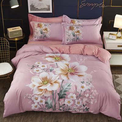 2019新款-棉加水晶绒四件套 床单款1.5m(5英尺)床 语嫣-粉