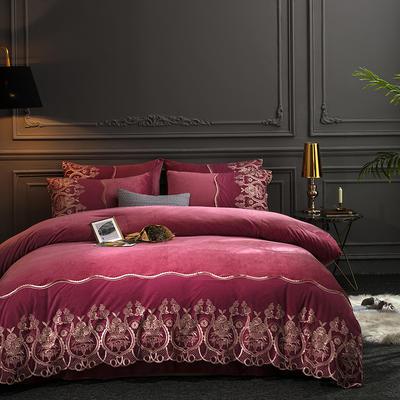 2019新款-莫妮卡宝宝绒四件套系列 床单款1.5m(5英尺)床 莫妮卡-豆沙
