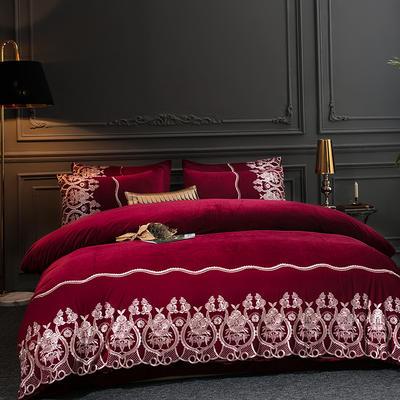 2019新款-莫妮卡宝宝绒四件套系列 床单款1.5m(5英尺)床 莫妮卡-酒红