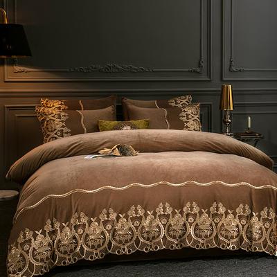 2019新款-莫妮卡宝宝绒四件套系列 床单款1.8m(6英尺)床 莫妮卡-咖