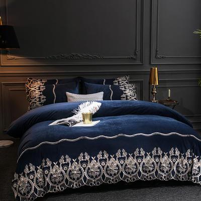 2019新款-莫妮卡宝宝绒四件套系列 床单款1.8m(6英尺)床 莫妮卡-蓝