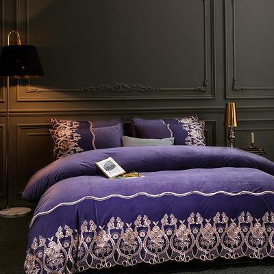 2019新款-莫妮卡宝宝绒四件套系列 床单款1.5m(5英尺)床 莫妮卡-紫