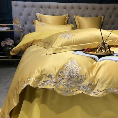 2020新款-梦巴黎水洗真丝系列四件套 床单款1.5m(5英尺)床 梦巴黎-姜黄(双面水洗真丝)