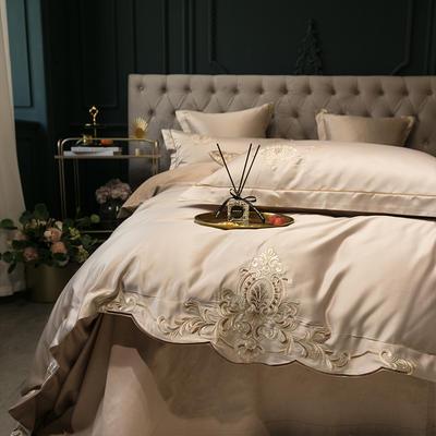 2020新款-夢巴黎水洗真絲系列四件套 床單款1.5m(5英尺)床 夢巴黎-卡其(雙面水洗真絲)