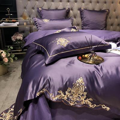2020新款-夢巴黎水洗真絲系列四件套 床單款1.5m(5英尺)床 夢巴黎-靚紫(雙面水洗真絲)