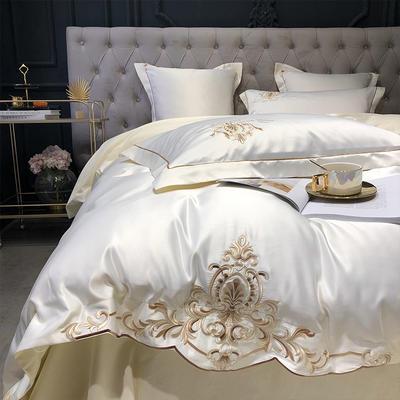2020新款-梦巴黎水洗真丝系列四件套 床单款1.5m(5英尺)床 梦巴黎-米白(双面水洗真丝)