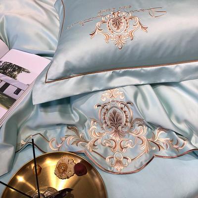 2020新款-夢巴黎水洗真絲系列四件套 床單款1.5m(5英尺)床 夢巴黎-水綠(雙面水洗真絲)