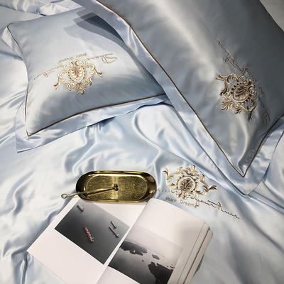 2020新款-夢巴黎水洗真絲系列四件套 床單款1.5m(5英尺)床 夢巴黎-天蘭(雙面水洗真絲)
