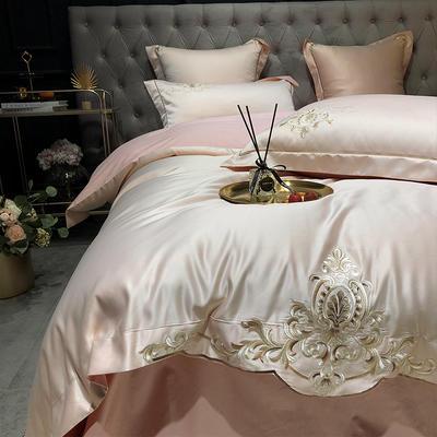 2020新款-夢巴黎水洗真絲系列四件套 床單款1.5m(5英尺)床 夢巴黎-香檳(雙面水洗真絲)