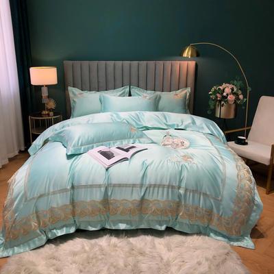 2020新款-金色年華水洗真絲系列四件套 床單款四件套1.5m(5英尺)床 金色年華-薄荷(全棉水洗真絲)