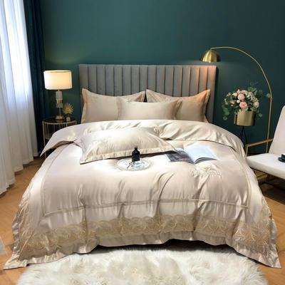 2020新款-金色年華水洗真絲系列四件套 床單款四件套1.5m(5英尺)床 金色年華-鉑金(全棉水洗真絲)