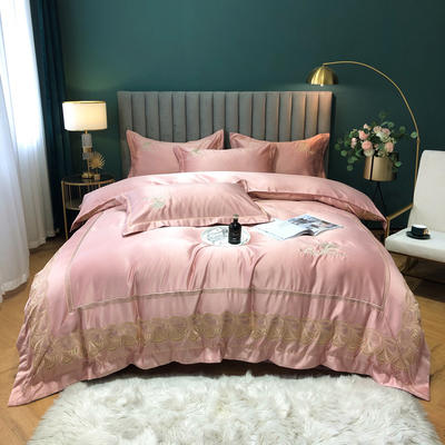 2020新款-金色年華水洗真絲系列四件套 床單款四件套1.5m(5英尺)床 金色年華-豆沙(全棉水洗真絲)