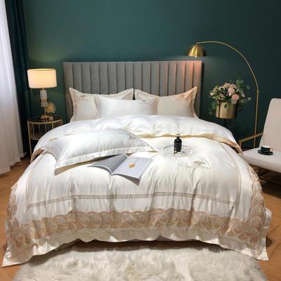 2020新款-金色年華水洗真絲系列四件套 床單款四件套1.5m(5英尺)床 金色年華-貴族白(全棉水洗真絲)