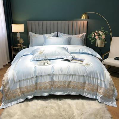 2020新款-金色年華水洗真絲系列四件套 床單款四件套1.5m(5英尺)床 金色年華-淺藍(全棉水洗真絲)