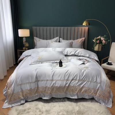 2020新款-金色年華水洗真絲系列四件套 床單款四件套1.5m(5英尺)床 金色年華-紳士灰(全棉水洗真絲)