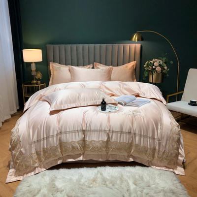 2020新款-金色年華水洗真絲系列四件套 床單款四件套1.5m(5英尺)床 金色年華-香檳(全棉水洗真絲)
