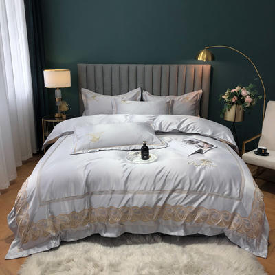 2020新款-金色年華水洗真絲系列四件套 床單款四件套1.5m(5英尺)床 金色年華-紳士灰(雙面水洗真絲)
