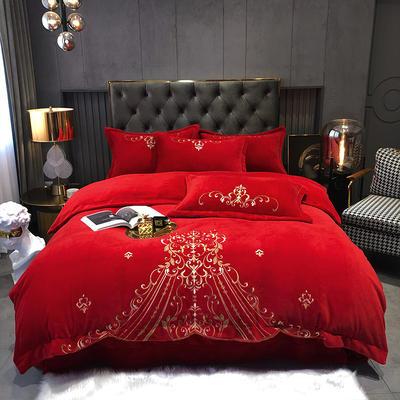 2020新款-牛奶绒保暖刺绣四件套-摩卡 1.8m床单款四件套 骑士红