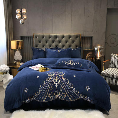 2020新款-牛奶绒保暖刺绣四件套-摩卡 1.8m床单款四件套 洋气蓝