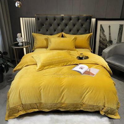 2020新款-水晶绒刺绣四件套-菲尼 1.8m床单款四件套 姜黄