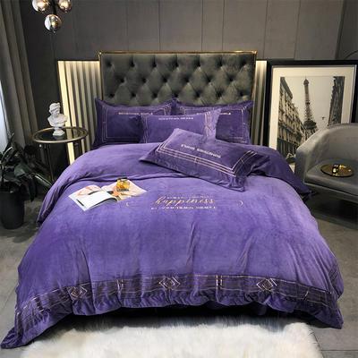 2020新款-水晶绒刺绣四件套-菲尼 1.8m床单款四件套 靓紫