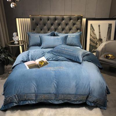 2020新款-水晶绒刺绣四件套-菲尼 1.8m床单款四件套 绅士蓝