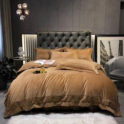 2020新款-水晶绒刺绣四件套-菲尼 1.8m床单款四件套 太妃咖