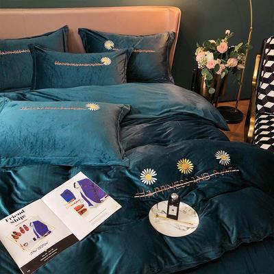 2020新款-水晶绒刺绣四件套-小雏菊 1.8m床单款四件套 牛仔蓝