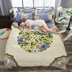【cool酷家纺】  2018新款植物羊绒磨毛四件套 1.5m(5英尺)床 花间意