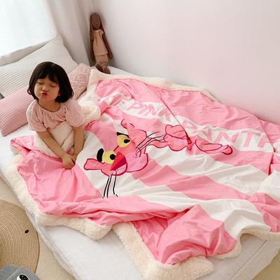 2019新款高克重羊羔绒毛毯 75*115cm S 条纹粉红豹