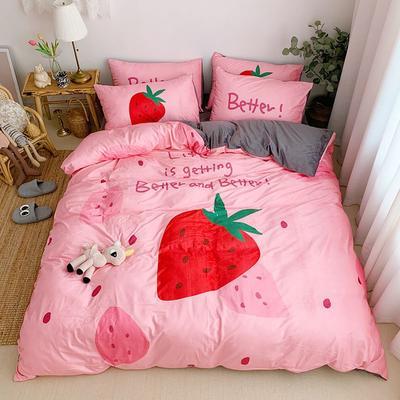 2019新款-宝宝绒数码印四件套 床单款1.2m(4英尺)床 草莓甜心