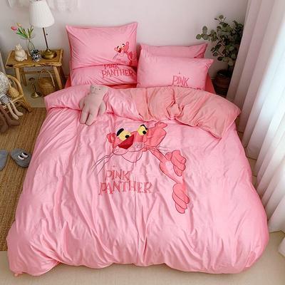 2019新款-宝宝绒数码印四件套 床单款1.2m(4英尺)床 粉红豹