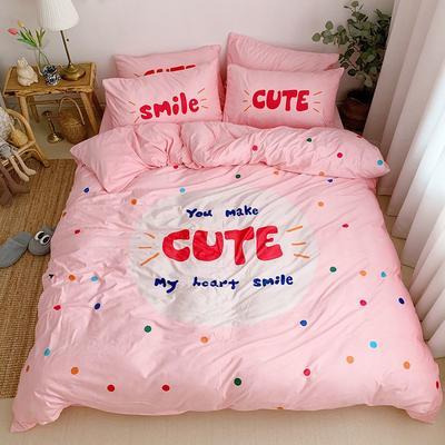 2019新款-宝宝绒数码印四件套 床单款1.2m(4英尺)床 可爱波点