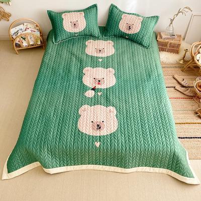 2019新款-宝宝绒床盖 床盖三件套150cmx200cm 三只小熊