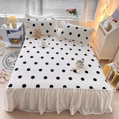 2021新款仙气飘飘·床裙款牛奶绒床盖三件套 1.8m床盖款三件套 波点